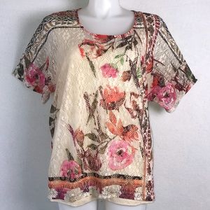 New CJ BANKS FLORAL PRINT LACE TOP OVER CAMI 2X